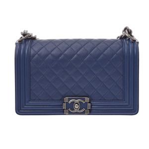 シャネル(Chanel) シャネル ボーイシャネル チェーンショルダーバッグ 青 レディース キャビアスキン Aランク 美品 CHANEL 箱 ギャラ 中古 銀蔵