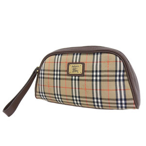 BURBERRY Burberry plaid pouch canvas leather brown second bag clutch 20190424