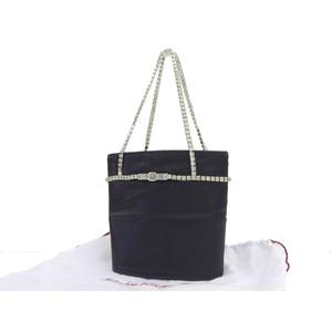 Salvatore ferragamo Ferragamo Rhinestone Vintage Lame Party Bag Satin Black Handbag 20190412