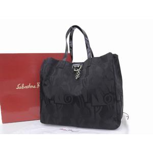 Salvatore Ferragamo Full Pattern Tote Bag Nylon Black Shoulder AU-21-7717 20190321