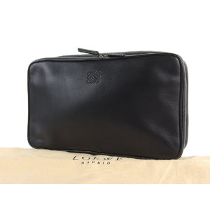 LOEWE Loewe Anagram Stamped Pouch Leather Black Clutch Bag Multi Case 20190424