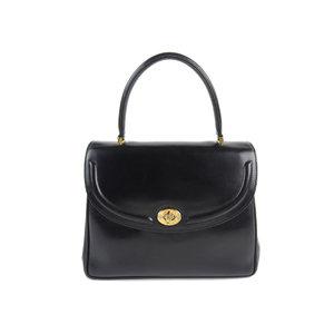 GUCCI Gucci vintage turn lock handbag leather black old 20190424