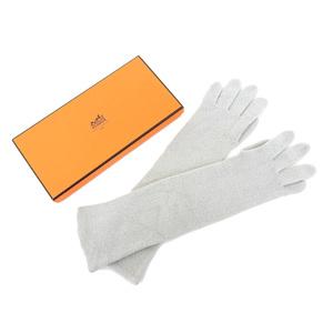 HERMES Hermes 100% Cashmere Long Gloves Gray Light Women size6 20190205