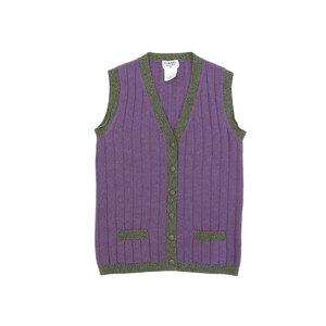 CHANEL Chanel cocomark button 100% cashmere women's vest gilet bicolor purple gray 40 20190424