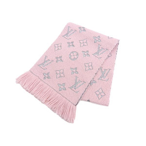 LOUISVUITTON Louis Vuitton Monogram Logo Mania Wool Scarf Escarpe Rose Valerine 20190125