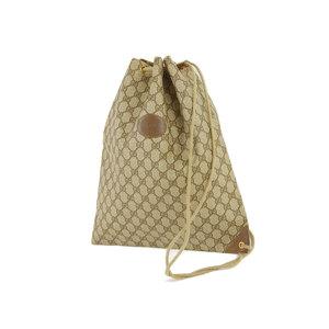 GUCCI Gucci GG Drawstring Vintage Shoulder Bag PVC Leather Brown Tea Old 20190510