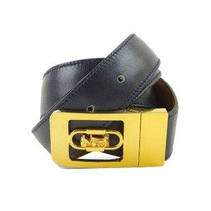 Celine Men's Leather Standard Belt Gold,Navy