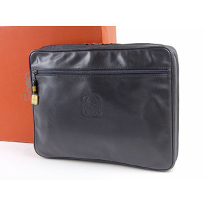 LOEWE Loewe Anagram Vintage Clutch Bag Leather Black 20190510