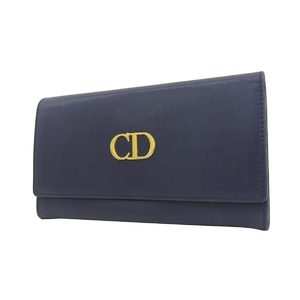 Christian Dior CD logo hardware double flap vintage folded long wallet leather navy blue red 20190529