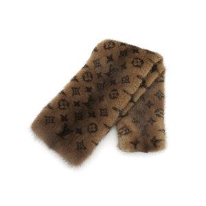 Louis Vuitton Monogram Fur Scarf Brown