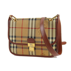 BURBERRY Burberry Prosom Nova Check Vintage Shoulder Bag PVC Leather Beige Brown Tea 20190510