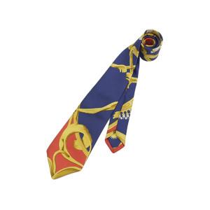 HERMES Hermes Men's Tie 100% Silk Navy Blue Yellow Red 20190531