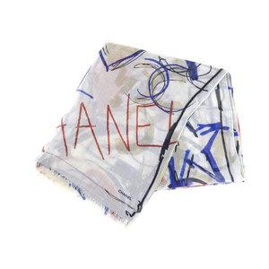 CHANEL Chanel Graffiti Coco Mark Heart Camellia Ladies Stole Cashmere Silk Multicolor White 20190510
