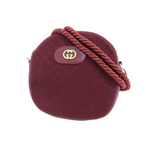 GUCCI Gucci Micro GG Logo Bracket Vintage Shoulder Pochette Canvas Bordeaux Old 20190510