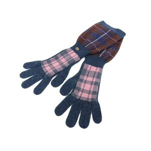 CHANEL Chanel Check Long Glove Wool Green Pink Brown Tea Gloves M 20190529