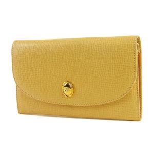Christian Dior logo hardware vintage folded long wallet Embossed leather cream 20190510