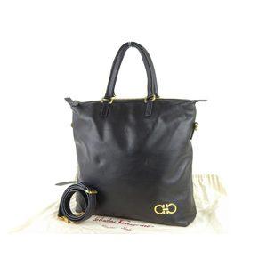 Salvatore ferragamo Ferragamo double Gancini metal fittings 2 way tote bag leather black hand shoulder 20190531