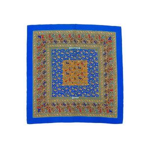 HERMES Hermes Calle 140 CHASEE EN INDE Indian Hunting Large Format Stole Shawl Cashmere Blue 20190523