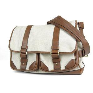 Tom Ford TOMFORD Tomford Canvas Leather Shoulder Bag Beige Brown Travel Messenger 20190604