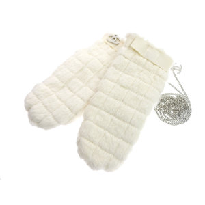 CHANEL Chanel coco mark charm chocolate barstitch mittens lapan fur white gloves M 20190510