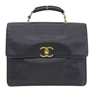 CHANEL Chanel Decacoco Caviar Skin 2WAY Briefcase Business Bag Black Vintage 2nd Series
