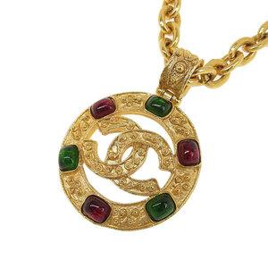 シャネル(Chanel) CHANEL シャネル CHANEL グリポア ココマーク カラーストーン ロングネックレス ゴールド ヴィンテージシャネル 94A