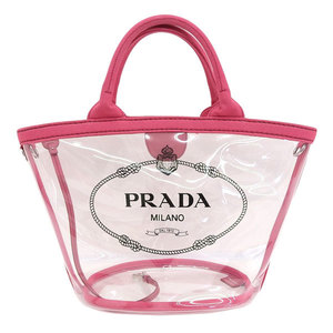 PRADA Prada plex fabric 2WAY vinyl tote bag handbag PVC clear pink ladies 1BG187