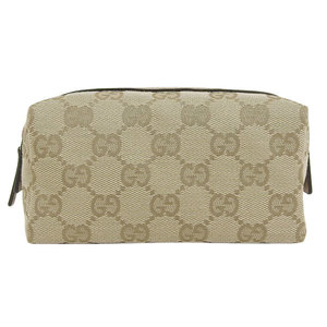 GUCCI Gucci GG canvas leather cosmetic pouch beige pink 29596