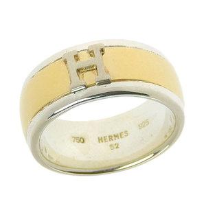 エルメス (Hermes) HERMES   エルメス HERMES K18 750 SV925 Hロゴ リング 指輪 レディース メンズ #52 8.9g