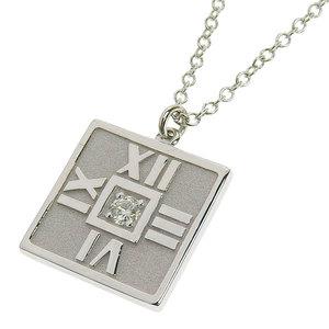 ティファニー (Tiffany) TIFFANY & Co.   ティファニー TIFFANY & Co. K18WG 750WG 1Pダイヤモンド アトラス スクエアプレート ネックレス 3.6g