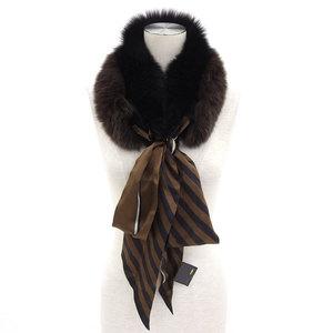Fendi FENDI Fur with stall 100% silk × Rabbit Brown Black * ETC