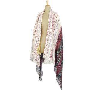 Louis Vuitton LOUIS VUITTON Cashmere Silk Full pattern Large format stall Shawl Made in Italy Ladies Black / light beige