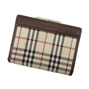 バーバリー(Burberry) バーバリー BURBERRY 二つ折り 財布  がま口 チェック レザー ウォレット メンズ レディース ベージュ