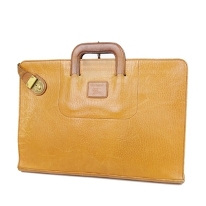 Burberry Burberrys All Leather Briefcase Business Bag Men's Back Check Camel Vintage