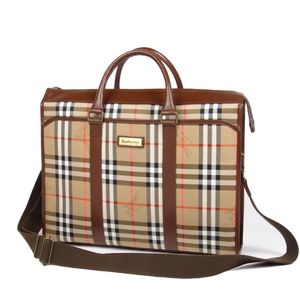 Burberry Burberrys Horse Ferry Check Leather 2way Business Bag Beige / Brown Men's Briefcase