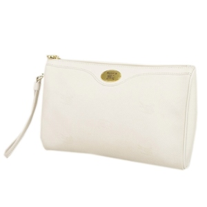 Burberry Burberrys PVC Leather Clutch Bag Second Ivory Vintage