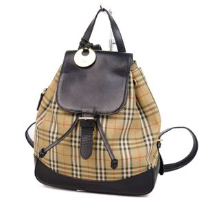 Burberry BURBERRY Horse Ferry Check Luck Backpack Daypack Ladies Beige / Black Bag