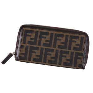 Fendi FENDI Zucca Round zipper Long wallet Women's Men's Brown Italian-made long