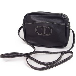 Christian Dior Logo Leather Shoulder Bag Pochette Ladies French Black Vintage