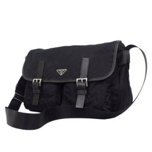 プラダ(Prada) プラダ PRADA イタリア製 ショルダー バッグ メッセンジャー バッグ ナイロン キャンバス ブラック 鞄 黒 メンズ レディース バッグ