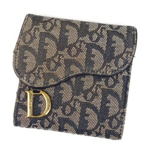 Christian Dior Trotter Canvas Leather Tri-Fold Wallet Italian Ivory / Navy Vintage