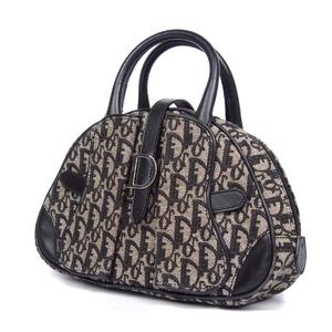 Christian Dior Trotter D Bracket Handbag Jacquard Leather Black / Gray Ladies Bags Vintage