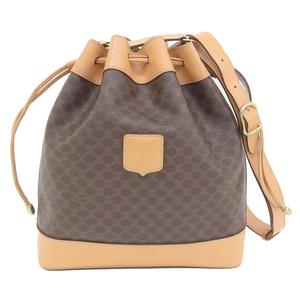 Celine CELINE Macadam Drawstring Bag PVC × Leather Brown