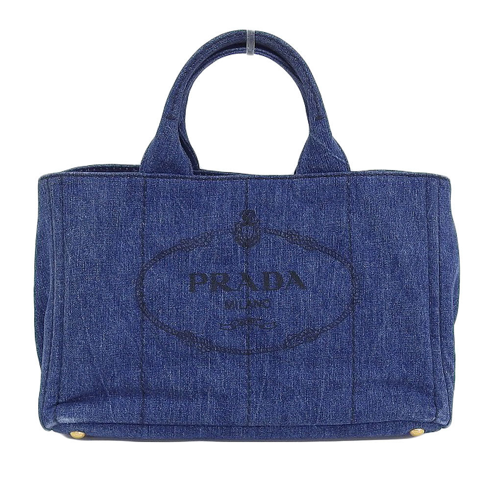 Prada PRADA Kanapatoto 2way tote bag shoulder denim canvas blue B2642B