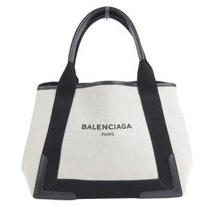 Genuine BALENCIA GA Balenciaga Navy Kabas Tote Bag Canvas × Leather White Black 339933