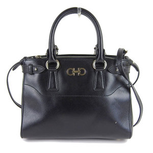 Genuine Salvatore Ferragamo Gancini 2WAY Hand Shoulder Bag Black Leather
