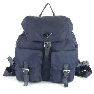 Genuine PRADA Prada nylon backpack Navy bag leather