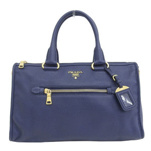 Genuine PRADA Prada Leather 2WAY Handbag Shoulder Navy Bag