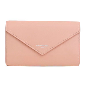 Genuine BALENCIA GA Balenciaga Paper Mani Zip Around Purse Pink 371661 Leather