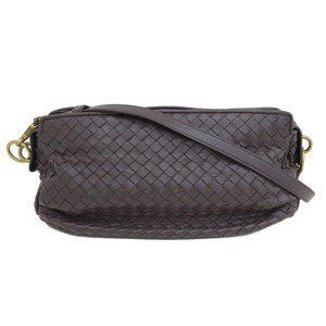 Genuine Bottega Veneta Intrecciato Leather Shoulder Bag Tea